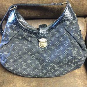 Louis Vuitton Black Epi Leather Denim Hobo Bag